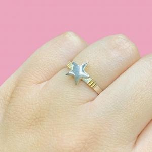 Anillo Estrella de Plata y Oro