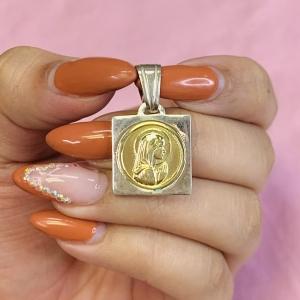 Dije Virgen Niña cuadrado grande 29mm de Plata y Oro