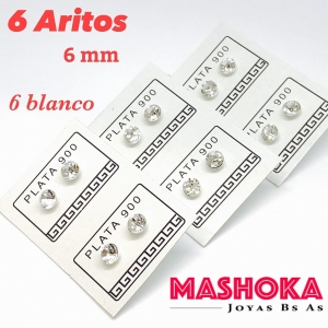 PROMO 6 Aritos de 6mm Blancos
