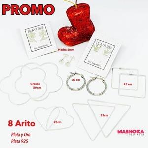 Promo de 8 Aritos de Plata y Plata y oro