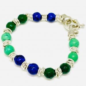 Pulsera de plata piedras naturales verde-Azul con tanza