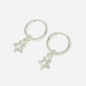 Aros Cubano 10mm con Estrella Inflada de plata 925