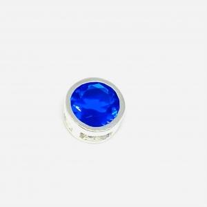 Dije Susanita Pasante Redondo Azul 7mm Plata 925