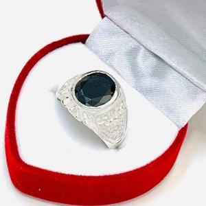 Anillo Unisex con piedra negro de Plata 925