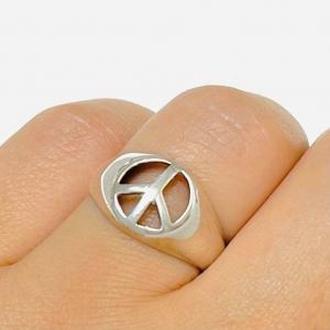Anillo Simbolo de la Paz Plata 925
